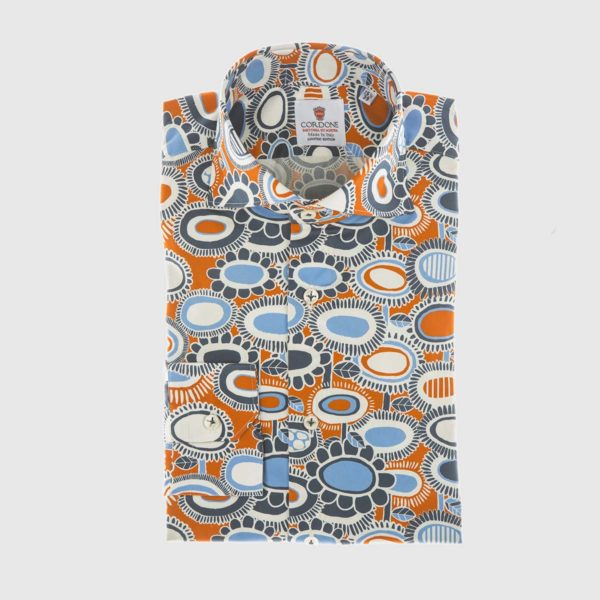 Fête Dress Shirt in Orange & Blue