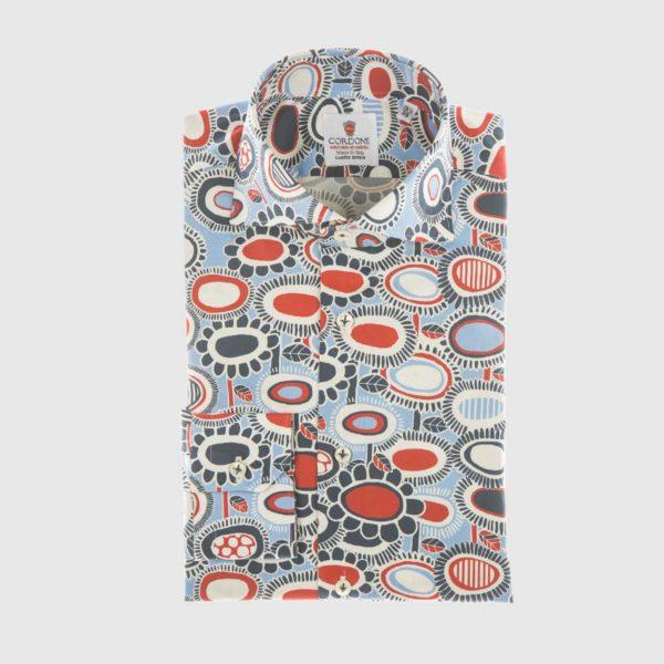 Camicia elegante Fête in blu e rosso