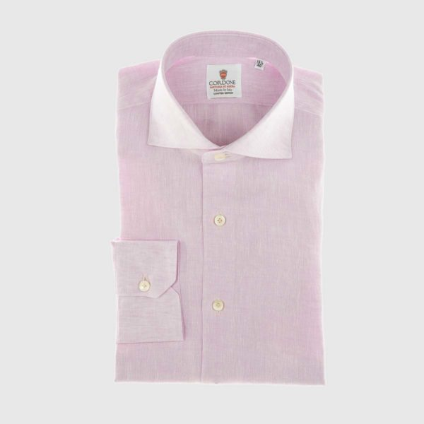 Linen Dress Shirt in Pink