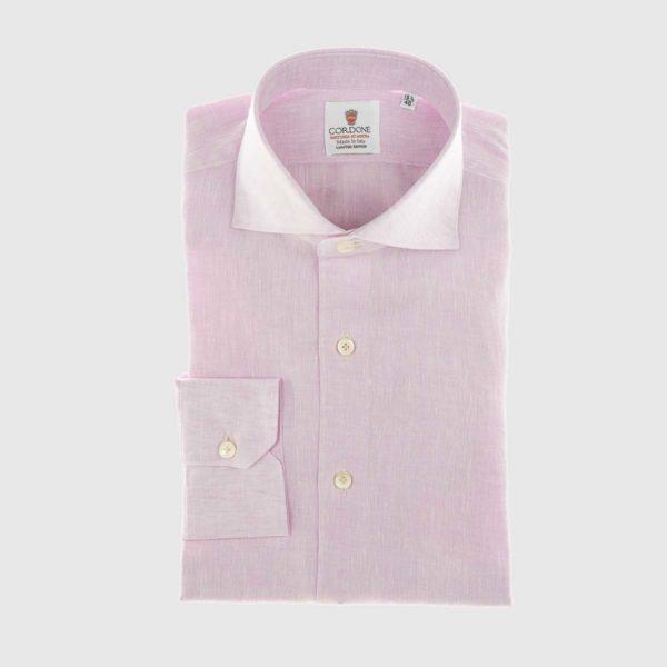 Camicia elegante di lino rosa