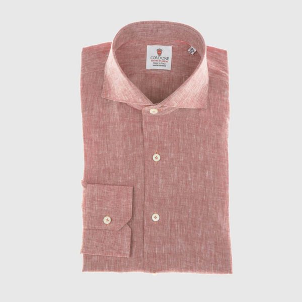 Linen Dress Shirt in Red