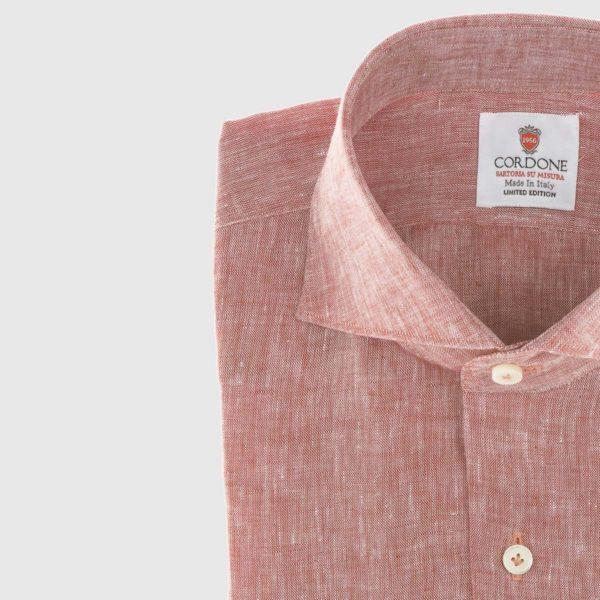 Camicia elegante di lino in rosso