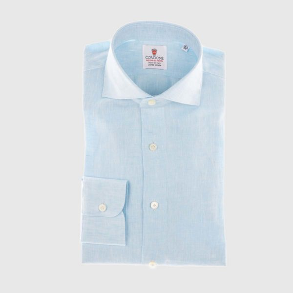 Linen Dress Shirt in Acqua