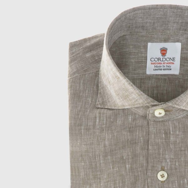 Linen Dress Shirt in Brown