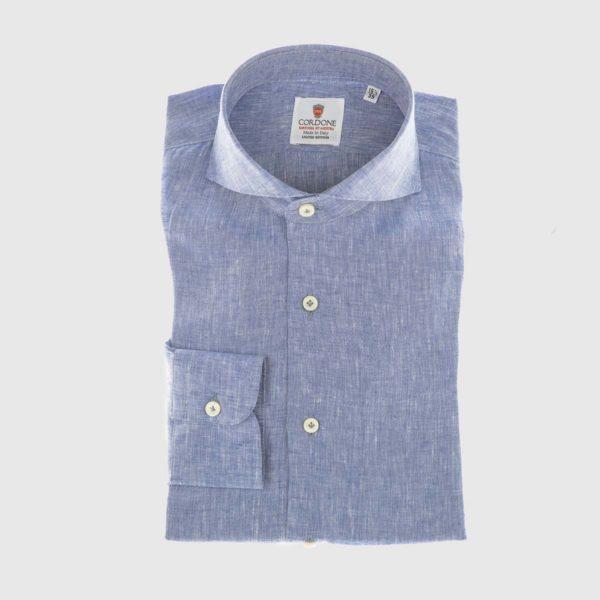 Men's Linen Dress Shirt in Blue
