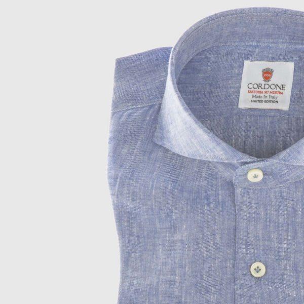Camicia elegante da uomo in lino blu