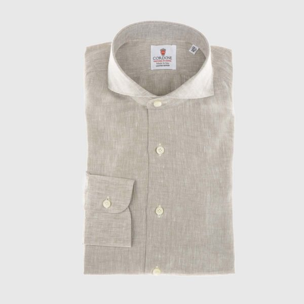 Camicia elegante di lino beige
