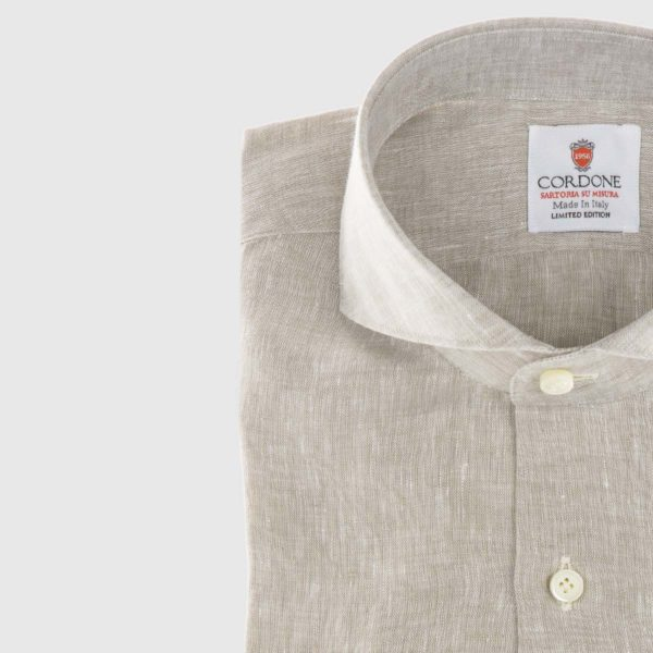 Linen Dress Shirt in Beige