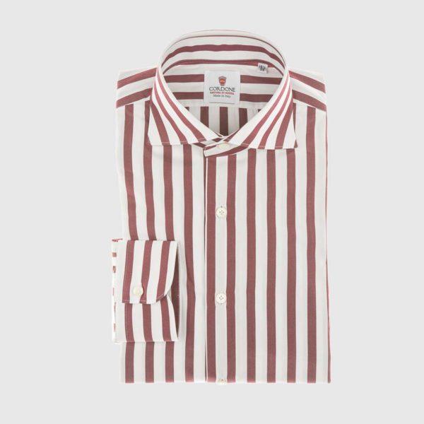 Camicia in popeline a righe in rosso e bianco