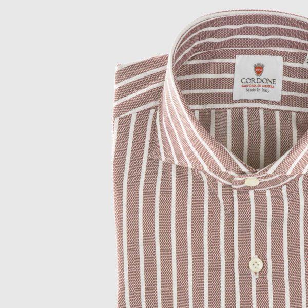 Camicia in piqué a righe in rosso