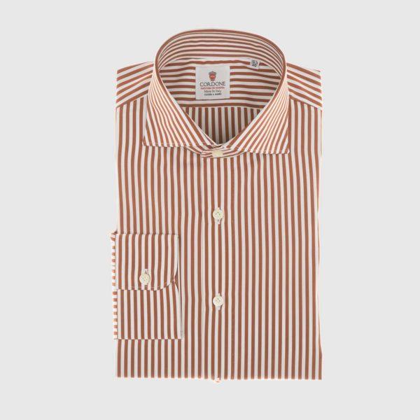 Camicia in popeline a righe arancione e bianco