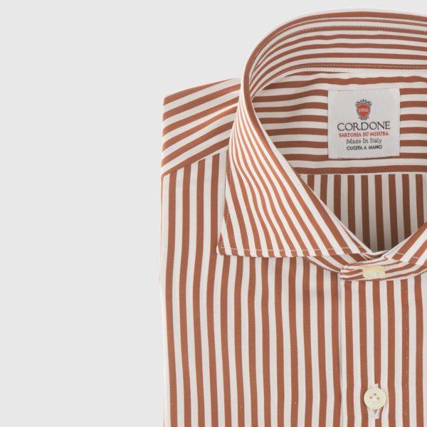 Striped Poplin Shirt in Orange & White
