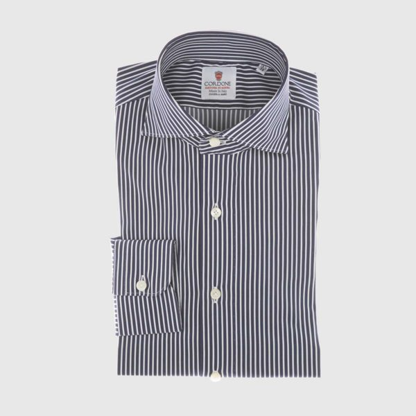Striped Poplin Shirt in Navy & White