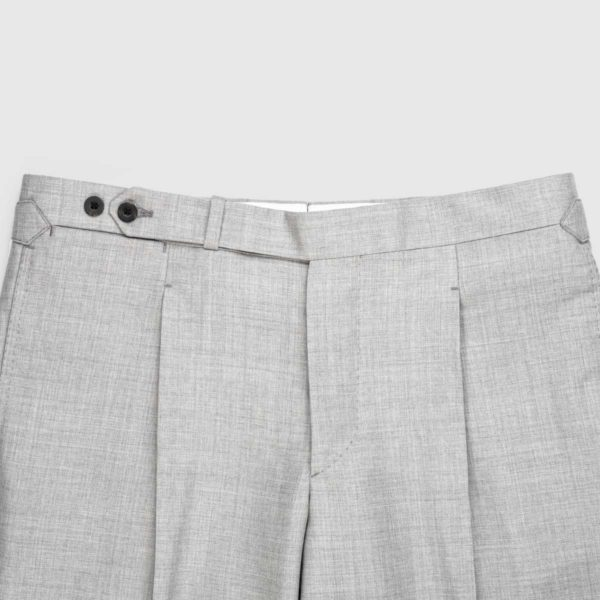 Gray One Pleat 120's Trousers