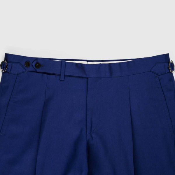 Blue Sapphire One Pleat 120's Trousers