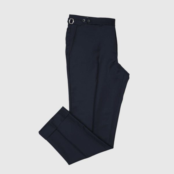 Deep Blue One Pleat 120's Trousers