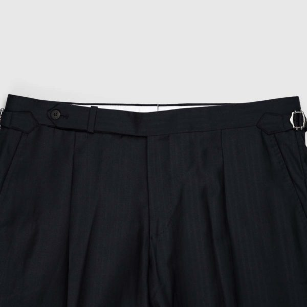 Black One Pleat 120's Trousers