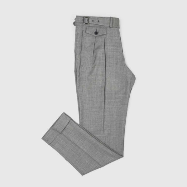 Gray Cotton Wool Two Pleats Trousers