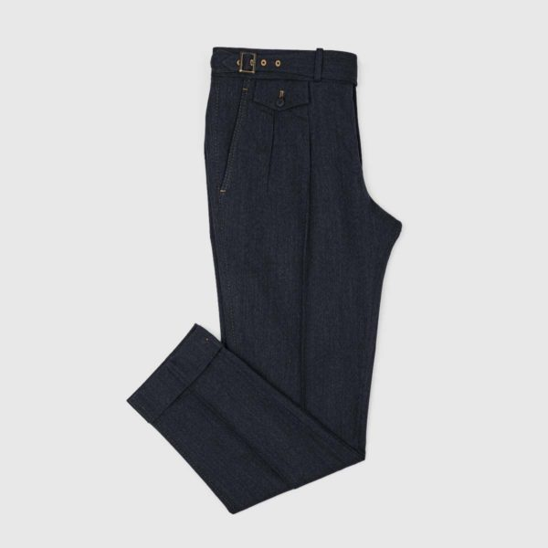 Pantaloni 2 Piences in Denim di Cotone e Lana