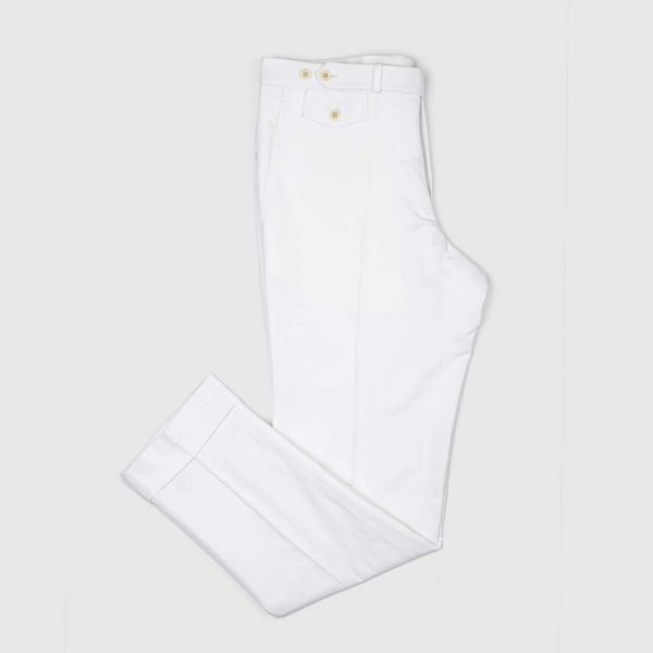 While Cotton Linen Chino Trousers