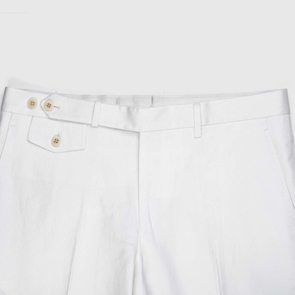 Pantaloni Chino Bianco 1 Pinces in Cotone e Lino