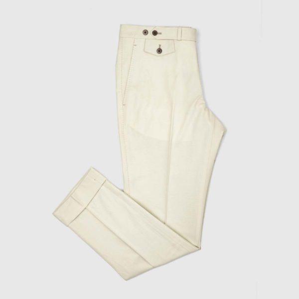 Pantaloni Chino Beige 1 Pinces in Cotone e Lino