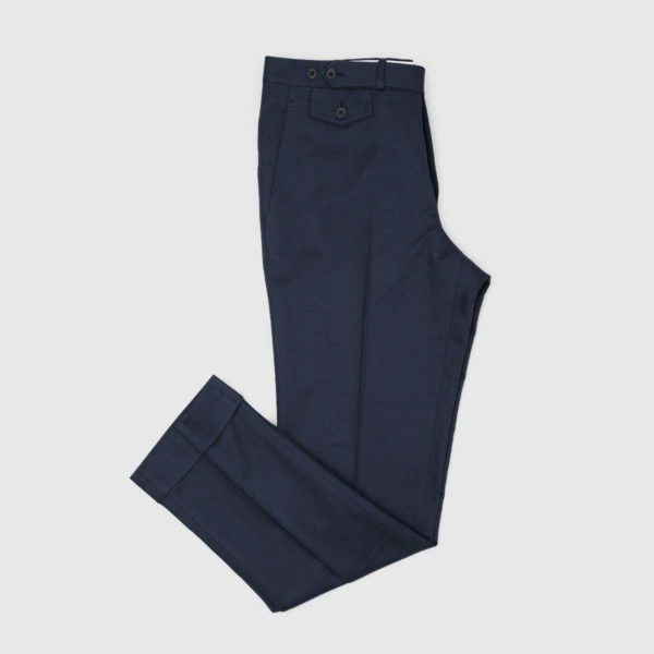 Pantaloni Chino Blue 1 Pinces in Cotone e Lino