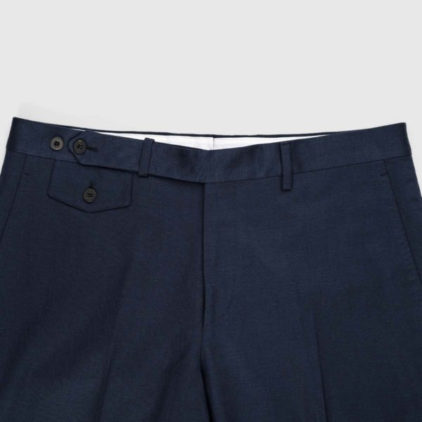 Blue Cotton Linen Chino Trousers