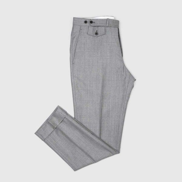 Pantaloni Chino Gray 1 Pinces in Cotone e Lino