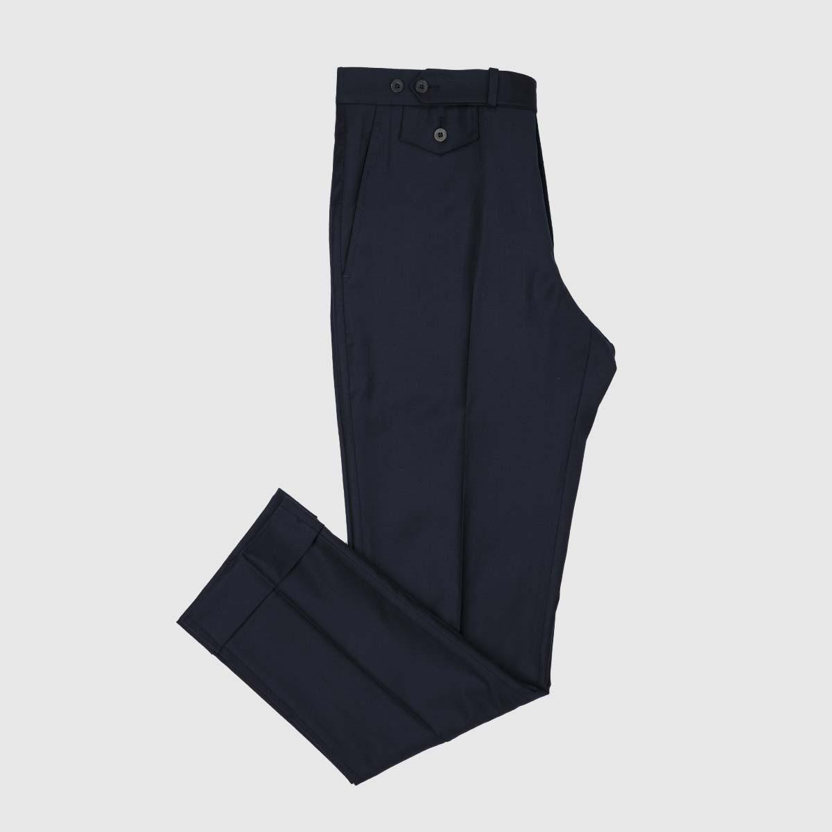 Pantaloni Chino Deep Blu 1 Pinces in Cotone e Lino