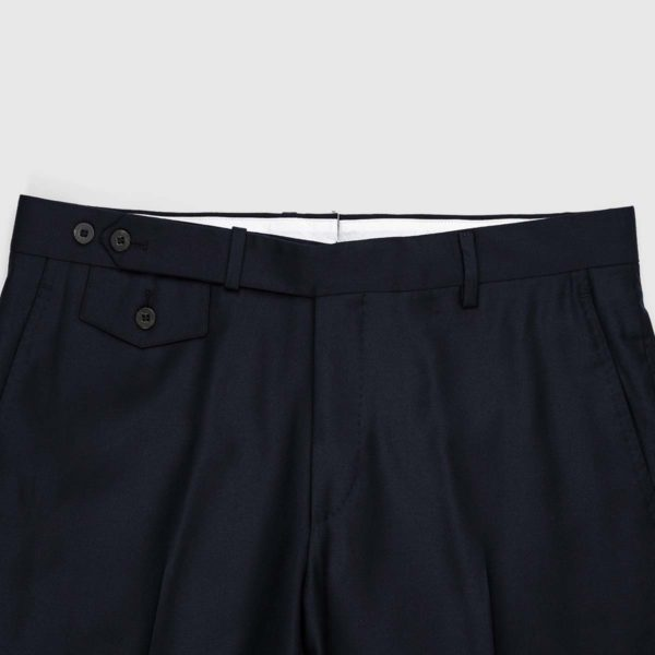 Pantaloni Chino Deep Blu 1 Pinces in Cotone e Lino