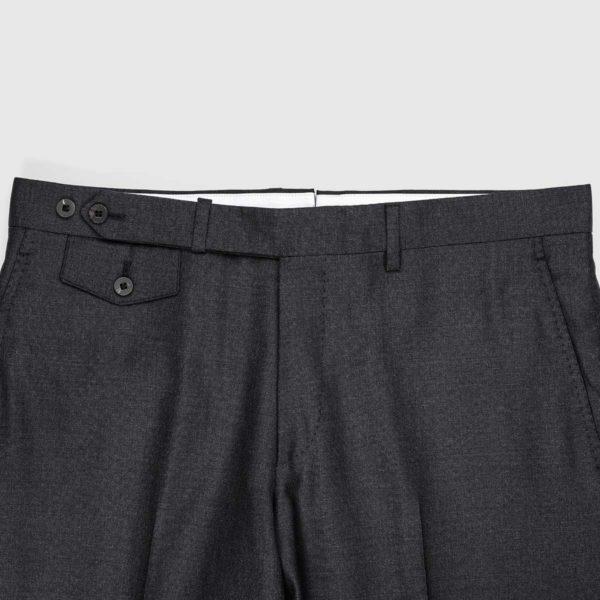 Pantaloni Chino Antracite 1 Pinces in Cotone e Lino