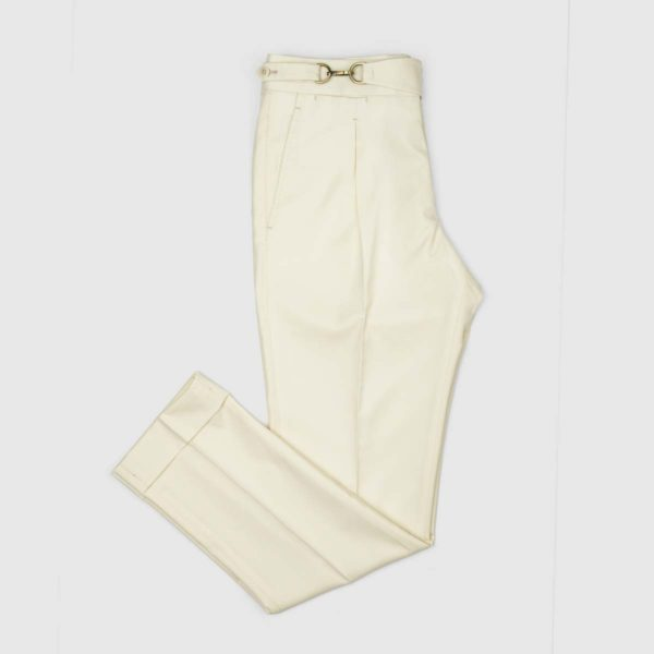 Pantaloni Crema 1 Pince in Lana 150's