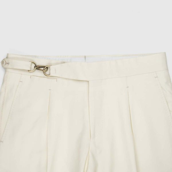 Cream One Pleat Super 150's Trousers