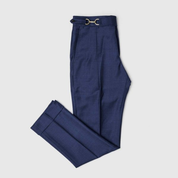 Blue One Pleat Super 150's Trousers
