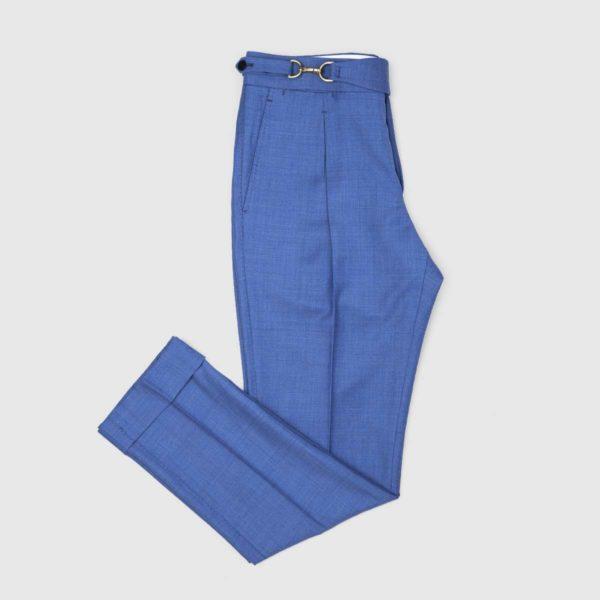 Pantaloni Blu Fiordaliso 1 Pince in Lana 150's