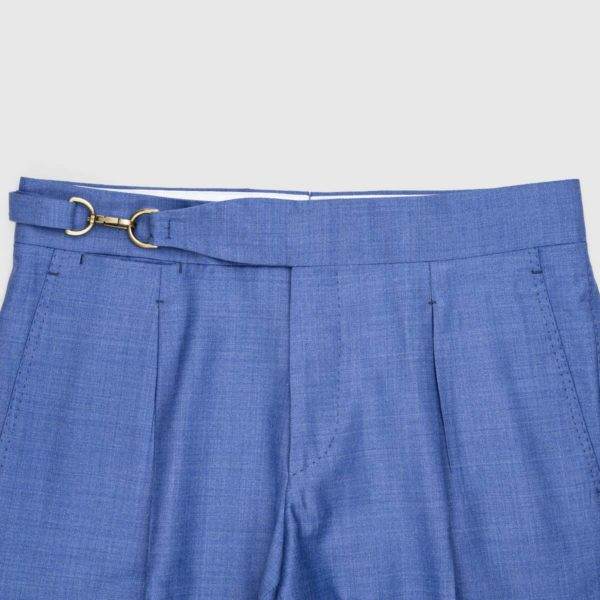 Cornflower Blue One Pleat Super 150's Trousers