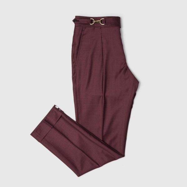 Purple One Pleat Super 150's Trousers