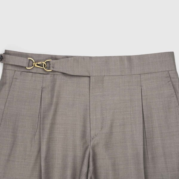 Taupe One Pleat Super 150's Trousers