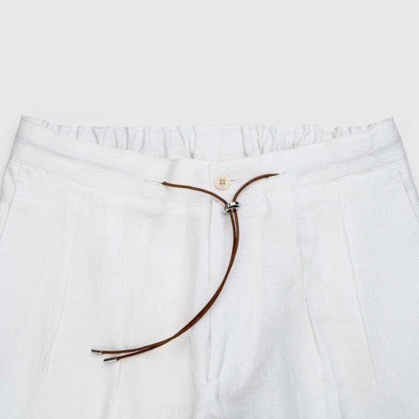 Pantaloni da jogging in lino bianco a due pieghe