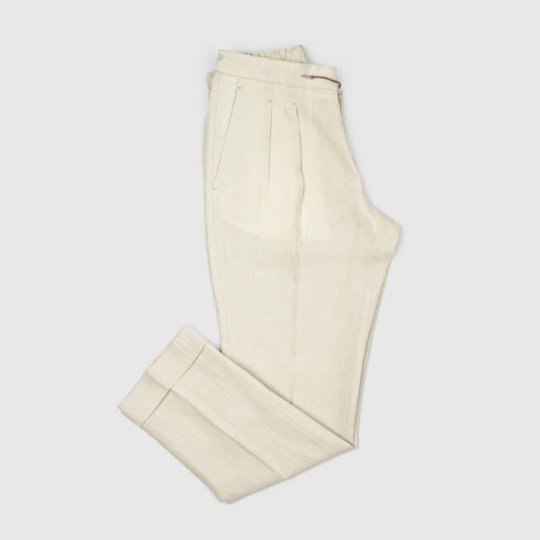 Cream Two Pleats Linen Jogging Trousers