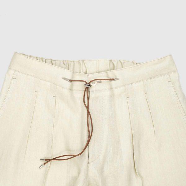 Pantaloni da jogging in lino color panna a due pieghe