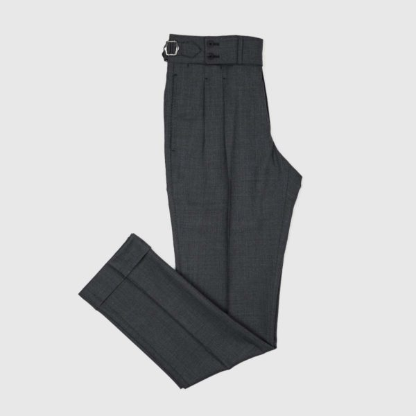 Pantaloni Antracite 2 Pinces in Lana 120's