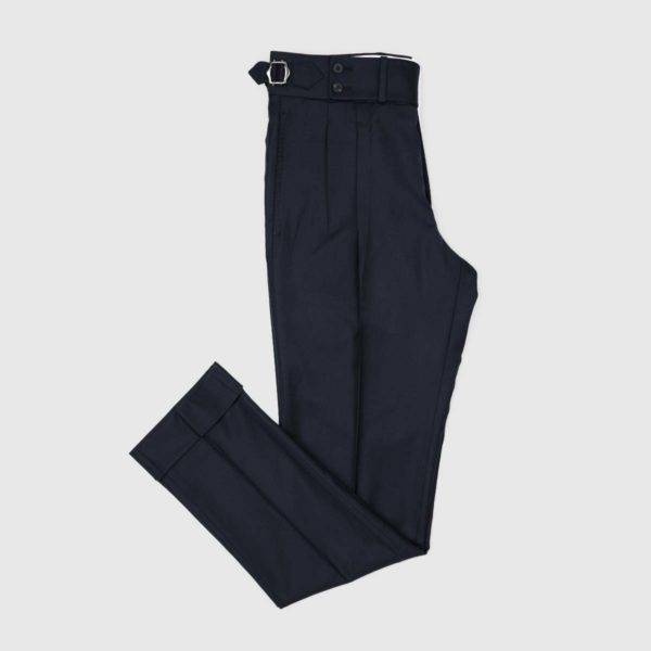 Dark Blue Two Pleats 120's Trousers