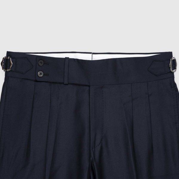 Pantaloni Blu scuro 2 Pinces in Lana 120's