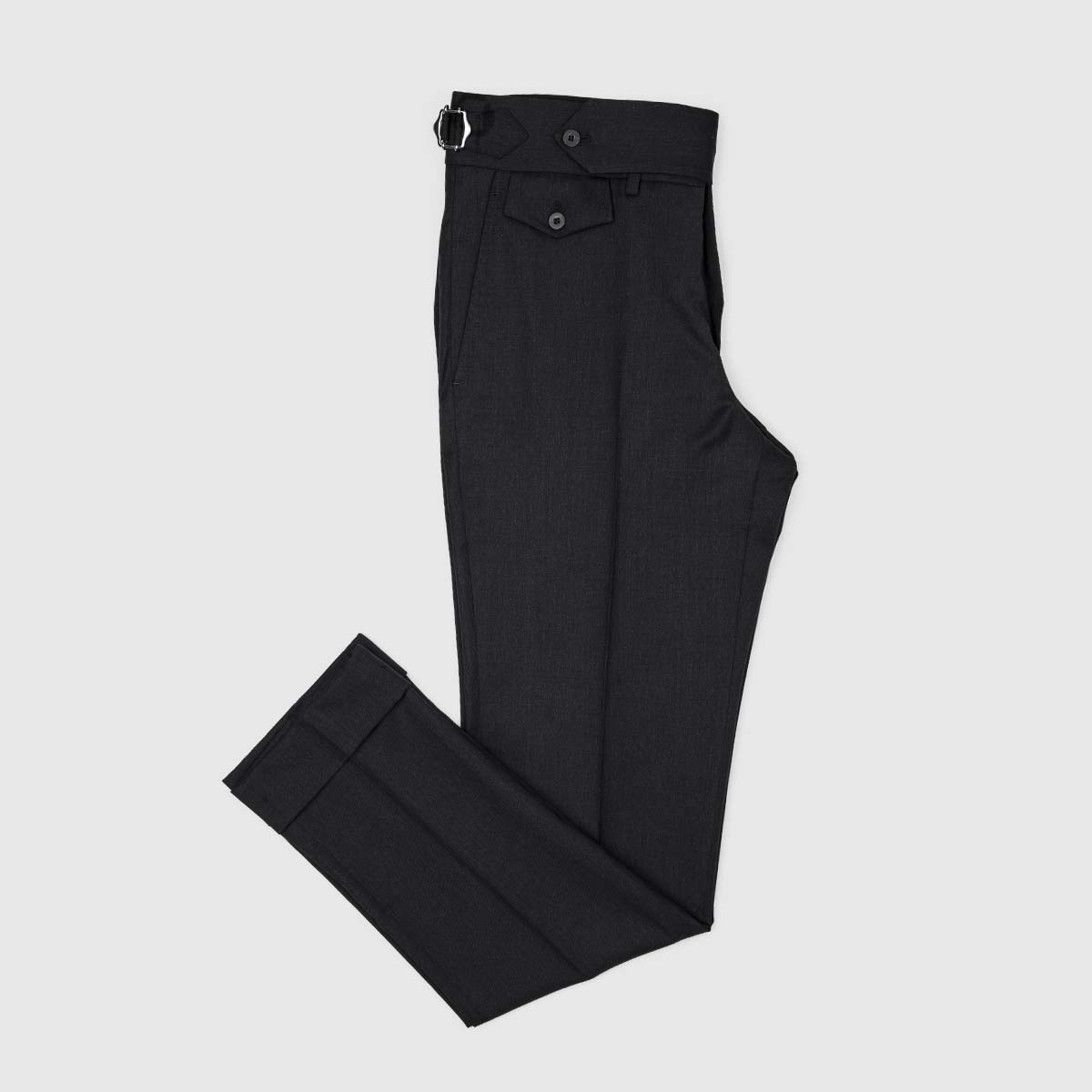 Black Two Pleats 120's Trousers