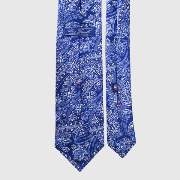 Cravatta di seta in Paisley blu e bianco