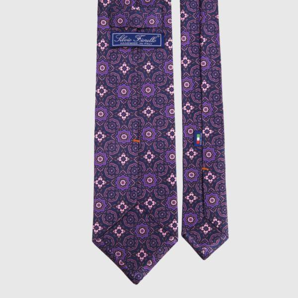 Cravatta di seta in medaglione di erica