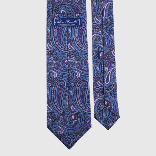 Cravatta in seta in Indaco Paisley
