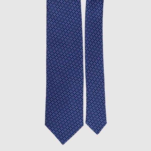 Cravatta di seta in micro blu scuro